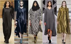 Paris Fashion Week: Fall/Winter 2014-2015. - Trend Fashion Shows. From L-R:Guy Laroche, Lanvin, Maison Rabih Kayrouz, Viktor + Rolf and Dries Van Noten...Trapeze shapes