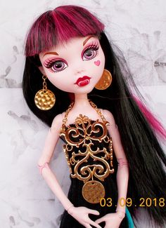 Doll Gold Scroll Jewelry Set, Tall Doll Body Necklace ,Gold Scroll Headband, Doll Hammered E Body Necklace, Monster High Dolls, Animal Ears, Fantasy Jewelry, Doll Hair, Headdress, Make Up, One Piece, Earrings