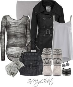 """""""Foldover Knit Booties & Layers"""" by in-my-closet on Polyvore"""