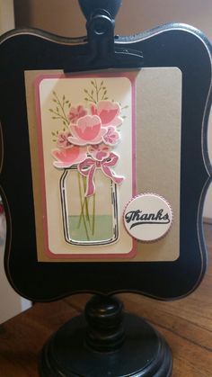 After stamping the flowers, draw a jar & use acetate to make it look like glass & the flowers are inside the jar.