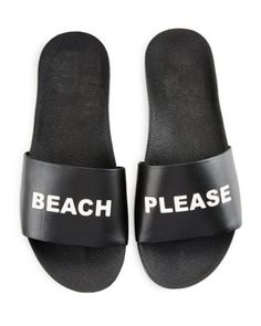 cheaper 95ad0 a4fe9 SCHUTZ Beach Please Leather Slide Sandal, Black White.  schutz  shoes