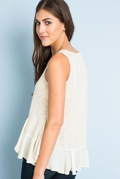 HAYDEN LOS ANGELES 'Frilled To See You' Tank - Natural