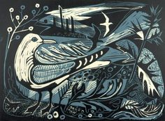 'Sea Change' by Mark Hearld. Editoned at the Penfold Press (linocut) Linocut Prints, Art Prints, Block Prints, Woodcut Art, Chalk Pastels, Wood Engraving, Woodblock Print, Bird Art, Making Ideas
