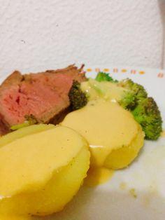 Filé + Batata + Brócolis + Molho hollandaise
