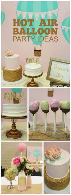 Love this modern and whimsical vintage hot air balloon 1st birthday party! See more party ideas at CatchMyParty.com!