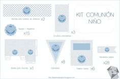 Kits Personalizados para Comuniones Candy Table, Printable Paper, David, Ideas, Party, Printable Tags, Free Printable, Party Kit, Communion Invitations