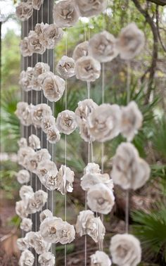 Curtain of Twelve 10 ft long INDIVIDUAL Rustic Paper Flowers Roses Garland Backdrop Vintage Book Pages Eco Wedding Love Embellished by LoveEmbellished on Etsy Wedding Paper, Diy Wedding, Rustic Wedding, Dream Wedding, Wedding Day, Handmade Wedding, Paper Wedding Decorations, Wedding Vintage, Trendy Wedding
