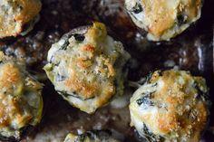Omit the breadcrumbs to make Atkins friendly.  Spinach, Bacon + Artichoke Stuffed Portobellos I howsweeteats.com