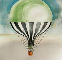 Vintage Hot air balloon painting, Green Hot air balloon decor, Hot air balloon illustrations by Elena Romanova - 13x19