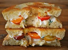 Grilled cheese made with a bagel and cream cheese, with heirloom tomatoes. Yes. Please.