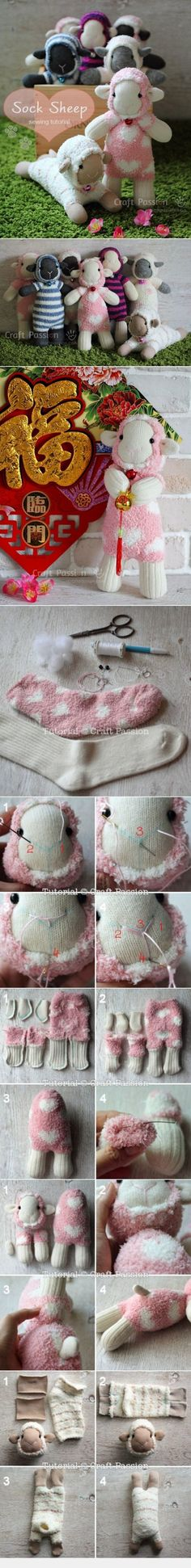 Sew Sock Sheep From Craftpassion                                                                                                                                                                                 More