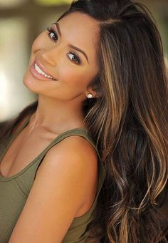 Straight Dark Brown Hair With Caramel Highlights #makeup