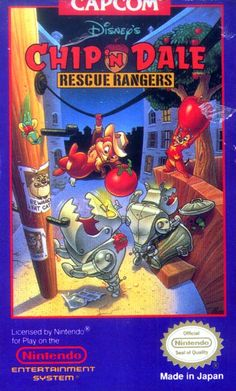 #Rescue Rangers, Chip 'n Dale - Label or Box Art #nintendo games #gamer #snes #original #classic #pin #synergeticideas #gameon #play #award