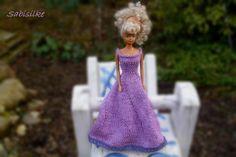 Puppenkleidung - Abendkleid mit Spitze/Borte für Barbie ** lila - ein…