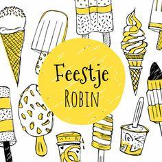 Een vrolijke en stoere uitnodiging voor een kinderfeestje met heel veel ijsjes!, verkrijgbaar bij #kaartje2go voor € 1,89