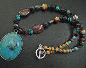 OOAK teal turquoise Boho tribal statement necklace semiprecious jewelry vintage amulet pendant Christmas gift