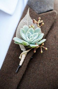 winter wedding succulent buttonhole