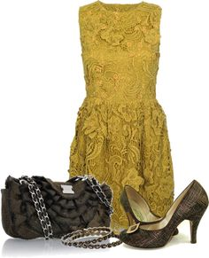 """""""set 1952"""" by ana-angela ❤ liked on Polyvore (oh, man! Heavy, golden lace (alencon?) with tiny flowered highlights on only the bodice. Wow.)"""