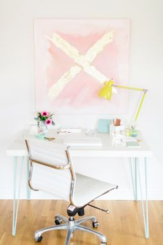 Beautiful abstract art above your desk for some inspiration every time you look up.