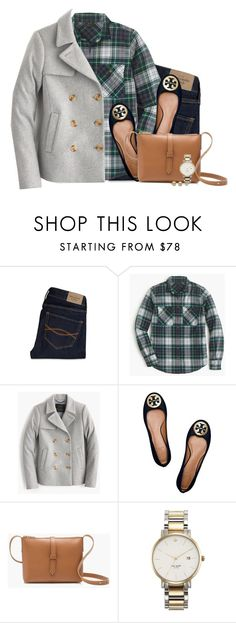 """Gray peacoat, plaid boyfriend shirt with navy flats"" by steffiestaffie ❤ liked on Polyvore featuring Abercrombie & Fitch, J.Crew, Tory Burch, Kate Spade, women's clothing, women, female, woman, misses and juniors"