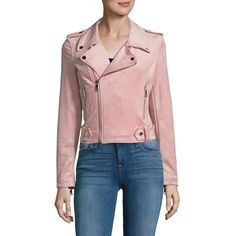 VIGOSS Faux-Suede Moto Jacket ($50) ❤ liked on Polyvore featuring outerwear, jackets, motorcycle jacket, cropped moto jacket, red motorcycle jacket, cropped motorcycle jacket and biker jackets