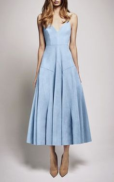 Crafted in a light blue suede, this **Alex Perry** dress features a midi hemline with an A-line silhouette and pleated detailing on the skirt.