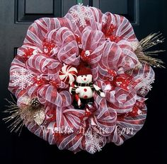 Deco mesh , red and white striped snowman wreath.
