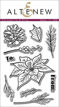 Poinsettia & Pine Stamp Set - Altenew  - 1