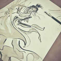 Ronin 1185... #sketch #sketchbook #illustration #art #ronin #roshi #samurai