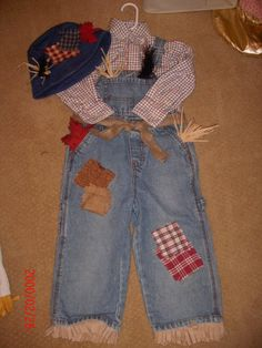 toddler boy size 3T costume  handmade scarecrow costume and hat  denim overalls -size 3T plaid shirt size 3T- Chaps brand- shirt can be worn