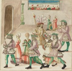 Masquerade c. 1515 pen and brown ink with watercolor on laid paper image: 23.3 x 23.7 cm (9 3/16 x 9 5/16 in.) sheet: 33.7 x 26.5 cm (13 1/4 x 10 7/16 in.) Rosenwald Collection1943.3.4382Not on View