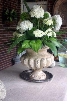 Hydrangea arrangment on outside porch
