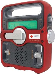 This is a larger model than the other one I posted. Same company, Red Cross stamped, can charge your phone, solar panel, flash light, crank handle, AM/FM/Weather radio.