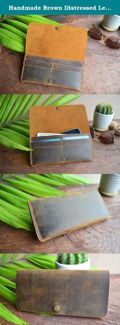 """Handmade Brown Distressed Leather, Long Bifold Wallet, Natural Mocha Brown Wallet With Button. Handmade Mocha Brown Distressed Leather Long Bifold Button Wallet Long Bifold Wallet with four credit card slots and one cash pocket. It can be used as a clutch as it can hold an iPhone 6s (6 inches). The wallet gives you a very natural and vintage look. Product Features Size: 19.5 cm by 9.5cm by 1.5cm (7.6"""" by 3.75"""" by .75"""") Weight: 140g Material: Distressed Cow Leather Color: Mocha Brown..."""