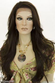 Dark Brown Brunette Long Lace Front Wavy Straight Wigs | eBay