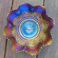 """Northwood """"Greek Key"""" Amethyst Carnival Glass Ruffled Bowl   eBay"""