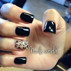Black & leopard nails ♡ ~ this'll be great during the fall/winter!