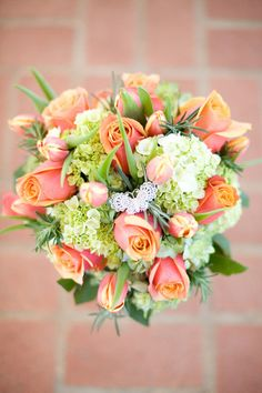 A lovely & bright summer bouquet filled with roses & hydrangeas! {Holly Graciano Photography}