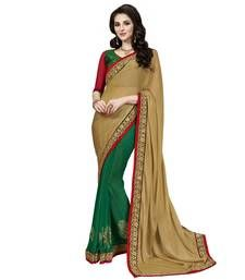 Buy Anjali Beige Embroidered Chiffon saree With Blouse chiffon-saree online