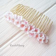 Bridal hairpiece, Sakura hair comb, Crochet cherry blossom, Spring... ($50) ❤ liked on Polyvore featuring accessories, hair accessories, floral hair pins, hair combs, crochet hair accessories, bridal hair combs and bridal flower hair accessories
