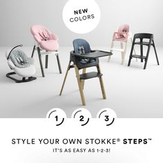 Customizing your baby's high chair is as easy as with our Stokke Steps Configurator. Create and buy your Stokke Steps from a wide selection of wood colors and accessories.