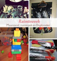 Hou een ruimteweek! Bijvoorbeeld met maanzand, een ruimtepak en zelfgebouwde raketten. Play To Learn, Early Learning, Kids Crafts, Concept, Inspiration, School, Fun, Blog, Stress