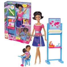 """Barbie """"I Can Be"""" Series 12"""" Doll Set - Nikki as TEACHER (BBD78) w/ Sister Chelsea Plus Classroom Accessory"""
