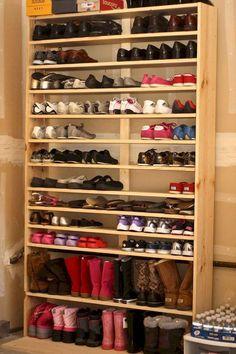 40 Homemade Shoe Rack Design Ideas To Inspire You Garage Shoe Rack, Shoe Rack Closet, Garage Storage, Diy Storage, Shoe Storage Ideas For Garage, Shoe Storage Solutions, Closet Storage, Storage Rack, Homemade Shoe Rack