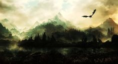 Vídeo Game The Elder Scrolls V: Skyrim  Fantasia Skyrim Dragão Papel de Parede