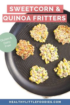 Sweetcorn Fritters - Healthy Little Foodies These sweetcorn fritters are a great finger food for kids. Great for the lunchbox and as part of the main meal. Gluten and dairy free with egg-free substitute. Corn Fritters Healthy, Sweet Corn Fritters, Finger Foods For Kids, Baby Finger Foods, Fingerfood Baby, Baby Food Recipes, Cod Recipes, Kale Recipes, Bean Recipes