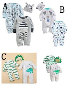 1d1948fa5 Details about New 3pcs Cotton Clothes Baby Boy Sets 2 Rompers+Hat Cute  Outfits For 3-24M A84