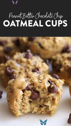 Peanut Butter Chocolate Chip Baked Oatmeal Cups The oatmeal cup of all oatmeal cups is here! You must make these peanut butter chocolate chip baked oatmeal cups for a healthy breakfast idea all week long. #oatmeal #oatmealcups #bakedoatmeal #glutenfree #mealprep<br> The oatmeal cup of all oatmeal cups is here! You must make these peanut butter chocolate chip oatmeal cups for a healthy breakfast idea all week long. Healthy Dessert Recipes, Healthy Sweets, Healthy Baking, Smoothie Recipes, Baking Recipes, Vegan Baking, Baby Recipes, Healthy Desserts Peanut Butter, Healthy Foods