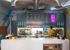 Visual identity by ico and interior design by Gundry and Ducker for British bubble tea brand Biju
