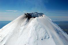 Shishaldin Volcano Summit. As of 9-14-14, Shishaldin is rated Orange by the USGS.